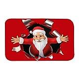 Luoji Weihnachten Deko Fußmatten Weihnachtsmann Teppiche Küche Decor Rutschfester Haltbarer Home...