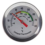 Kompostthermometer - Thermometer mit Edelstahl-Zifferblatt für Haus und Hinterhof, Kompostierung....