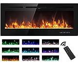 M.C.Haus Elektrischer Kamin, Touchscreen, Glasplatte, bunte Flamme, Einsatz, Wandmontage, Heizung,...