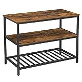 VASAGLE Kücheninsel mit großer Arbeitsplatte, Esstisch, Küchenregal mit 3 Regalablagen, stabiles...