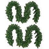 Wohaga 2er Set Künstliche Weihnachtsgirlande Tannengirlande, je 270cm, je 180 Spitzen, In- /...