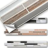 Grandora 5er Set 27 x 5 cm Fliesenaufkleber Kupfer marmor Silber Taupe Design 1 Ziegel I 3D Mosaik...