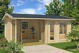 Gartenhaus G169 inkl. Fußboden und Terrasse - 44 mm Blockbohlenhaus, Grundfläche: 19,20 m²,...