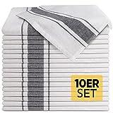Loco Bird 10er Set Geschirrtücher aus Baumwolle - 45x75cm grau weiß gestreift - Hochwertiges...
