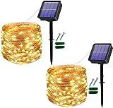 [2 Stücke] Usboo® Solar Lichterkette, 150 warmweiße LEDs 15 Meter für Außen & Innen mit...