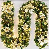 Bcamelys Weihnachtsgirlande mit Beleuchtung, 270 cm 40 LED warmweiß Weihnachtsgirlande...