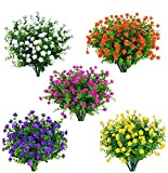 Amajoy 15 Bündel im Freien Künstliche Blumen Kunstplastik Grün UV-beständige Sträucher Pflanzen...