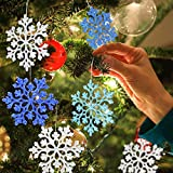 Jusduit Schneeflocken, 24 Stück Schneeflocken-Weihnachten Deko in 4 Farben für Weihnachtsbaum...