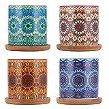 TsunNee Keramik-Blumentöpfe, Mandala-Muster, Sukkulentententöpfe, Keramik-Blumentöpfe, dekorative...