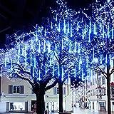 Meteorschauer Regen Lichter, 480 LEDs 50cm 10 Röhren Meteorschauer Lichterkette Außen, IP65...