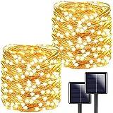 [2 Stücke] Usboo® Solar Lichterkette, 150 warmweiße LEDs 15 Meter für Innen & Außen mit...