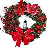 Weihnachtskranz Tür außen Deko 38CM,Weihnachtsmann Türkranz Adventskranz Schneemann Weihnachten...