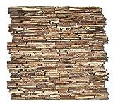 HO-006-1 Teakholz Paneele - 3D Wandverkleidung Holz Wandverblender Wandtatoo Holz-Design Wandfliese...
