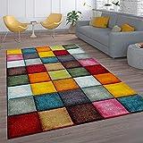 Paco Home Kurzflor Wohnzimmer Teppich Bunt Karo Design Vierecke Mehrfarbig Farbenfroh,...