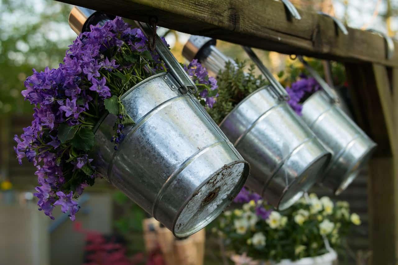 Gartengestaltung Blumen im Eimer