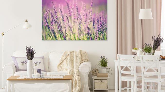 Provenzalisches Wohnzimmer mit Bild Lavendel