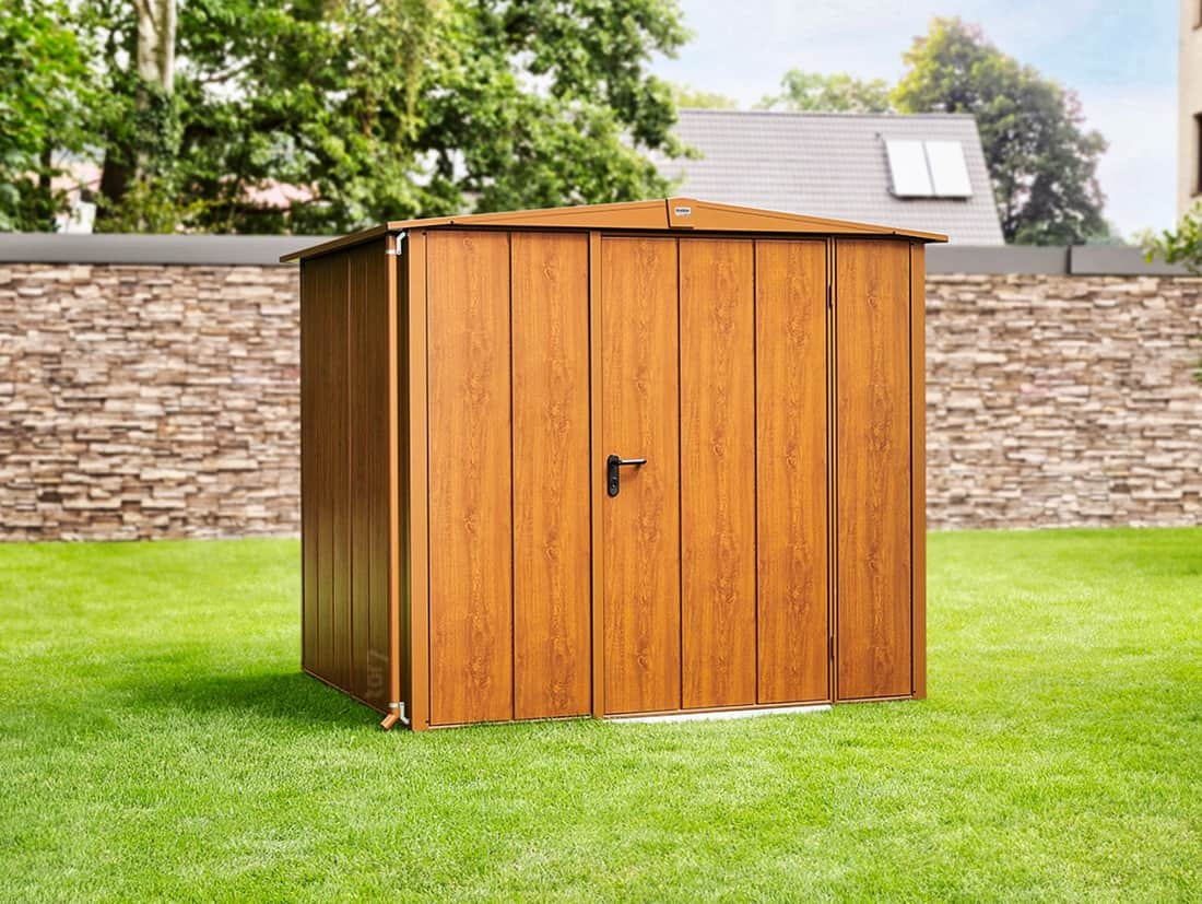 Metall-Gerätehaus Elegant in Holz-Optik, Dekor Golden Oak © EcoStar